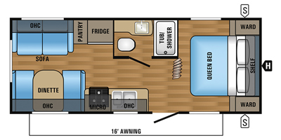 2017 JAYCO JAY FEATHER 212QBW (couples) Floorplan