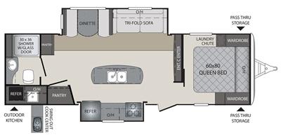 2018 KEYSTONE PREMIER 26RBPR (couples) Floorplan