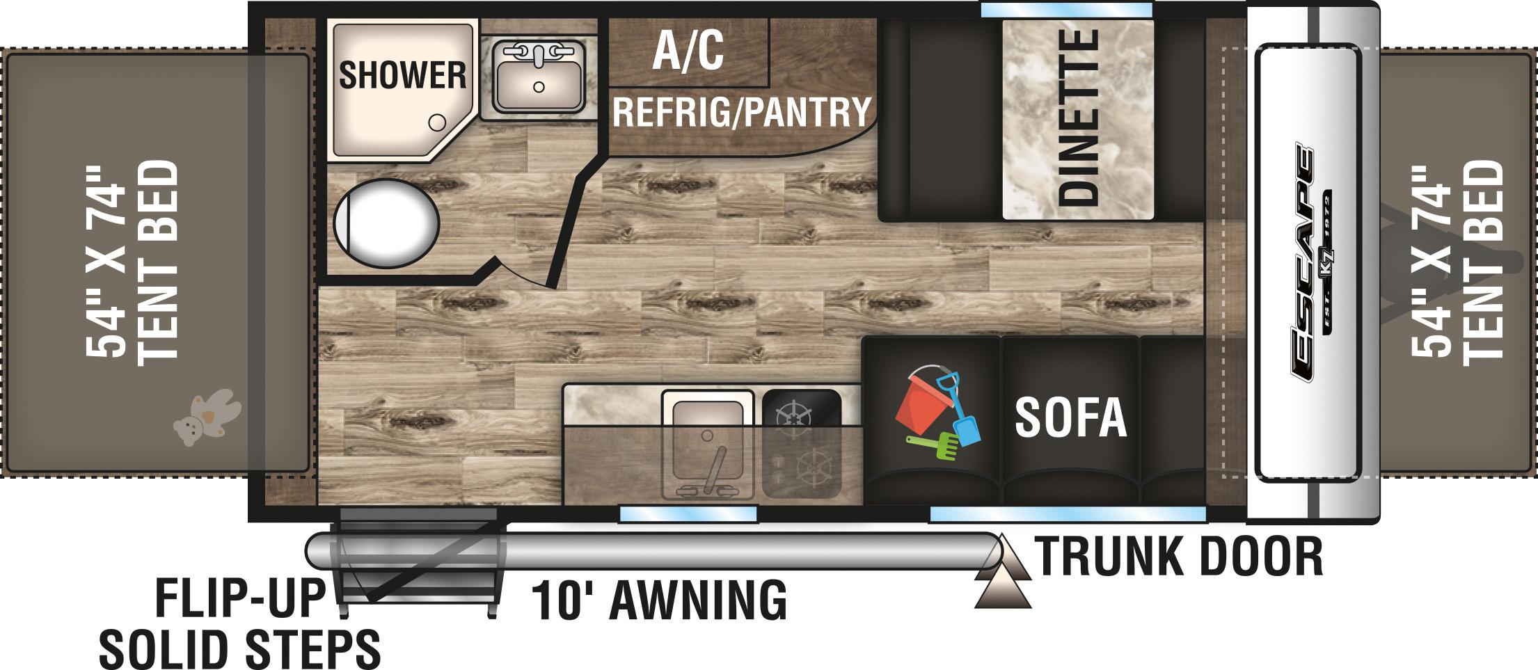 2020 K-Z INC. ESCAPE 160RBT (bunks) Floorplan