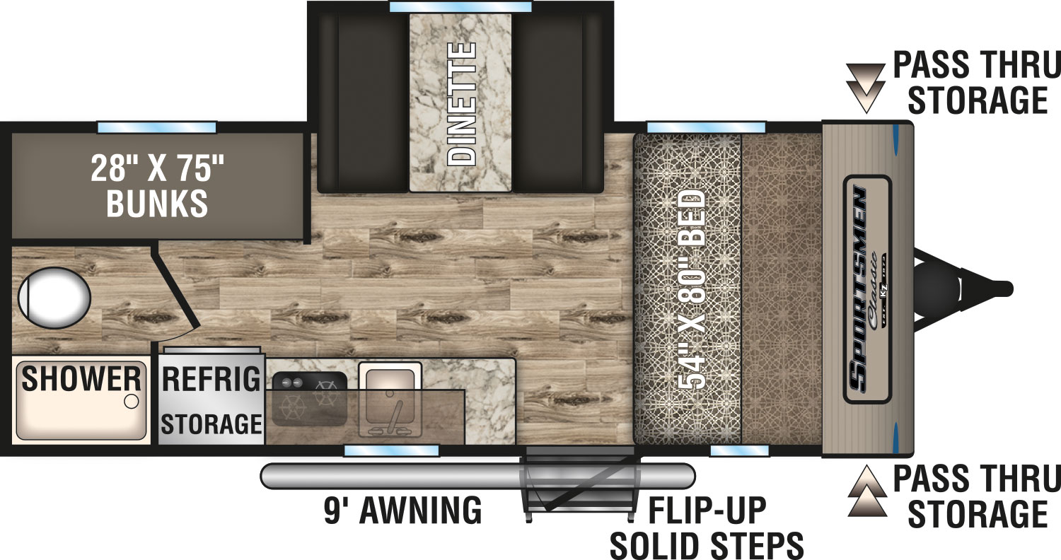 2020 K-Z INC. SPORTSMEN CLASSIC 181BH (bunks) Floorplan