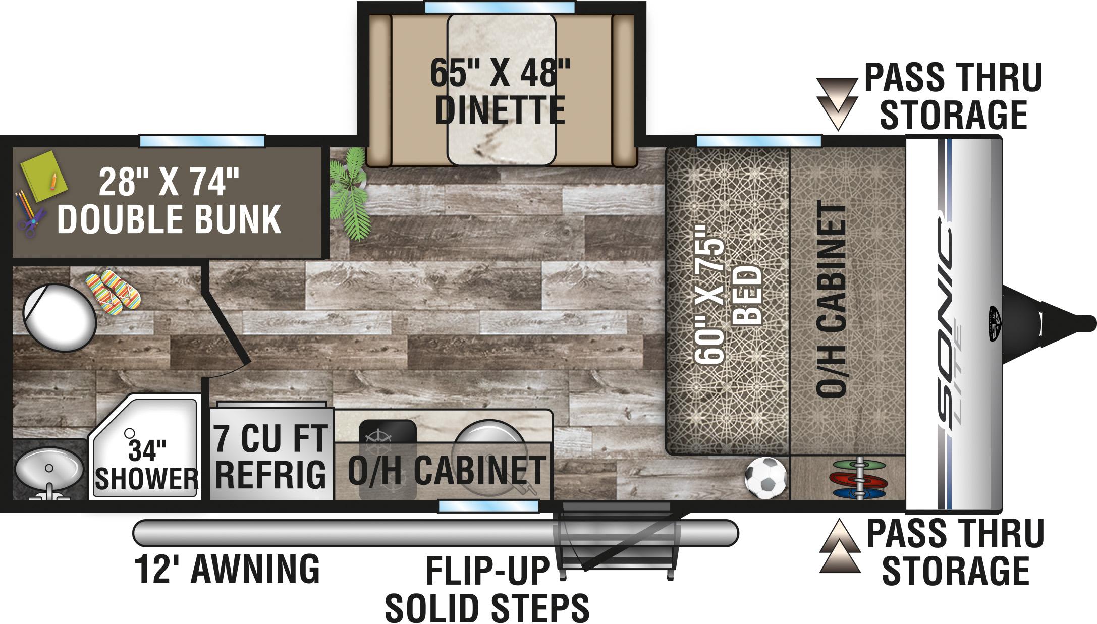 2020 VENTURE SONIC LITE 169VUD (bunks) Floorplan