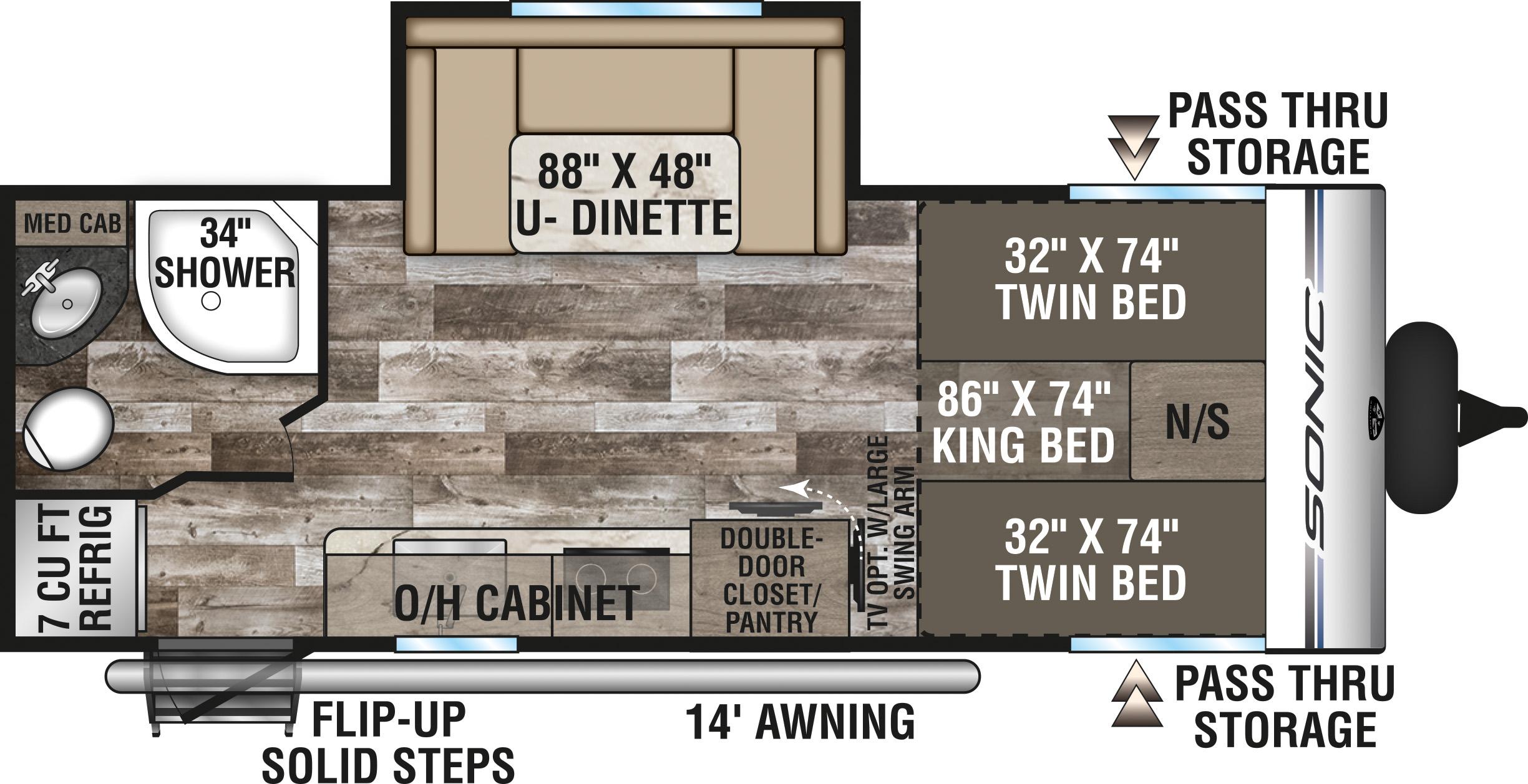 2020 VENTURE SONIC 210VTB (couples) Floorplan