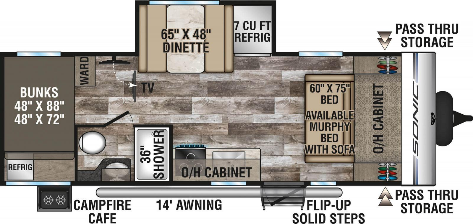 2020 VENTURE SONIC 211VDB (bunks) Floorplan