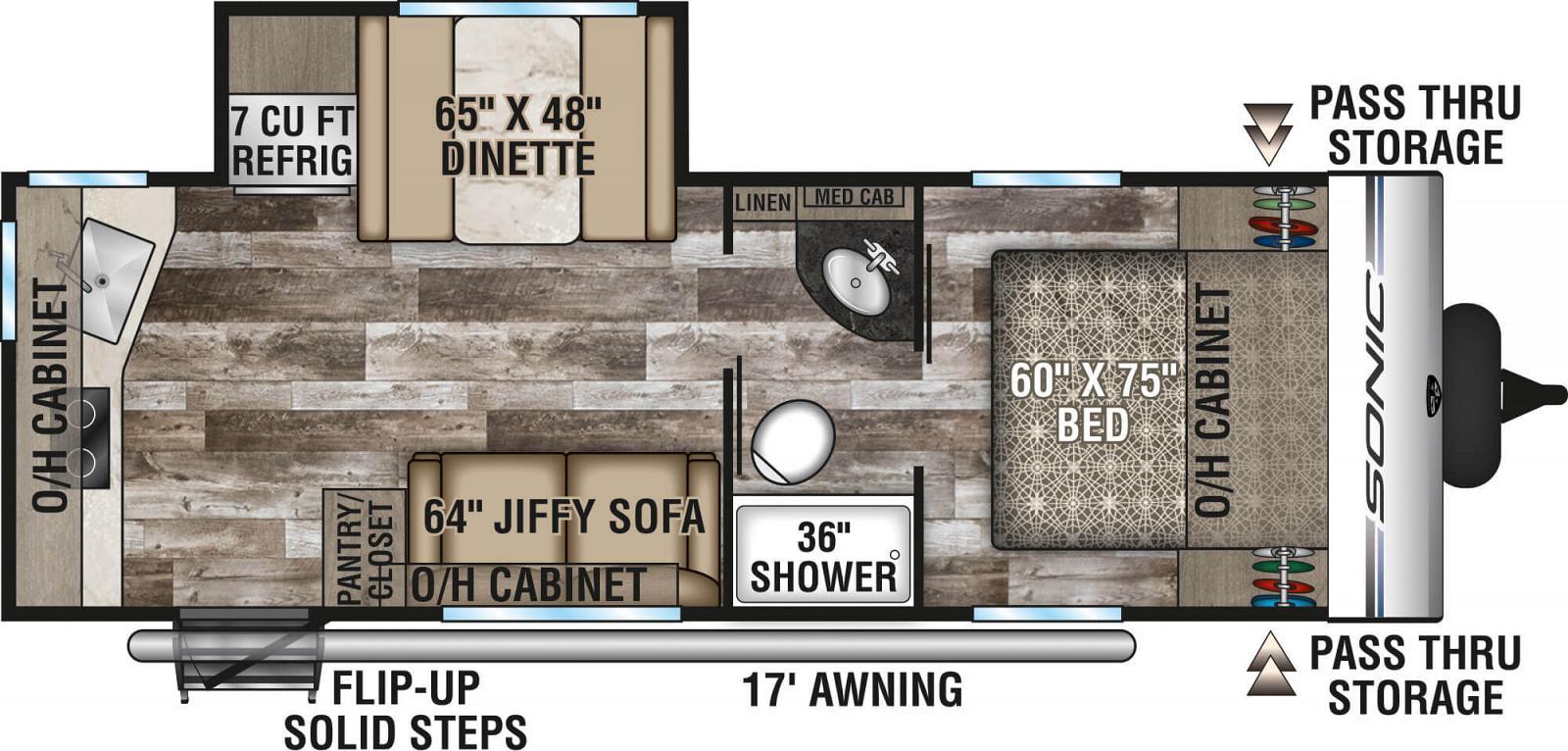 2020 VENTURE SONIC 231VRK (couples) Floorplan