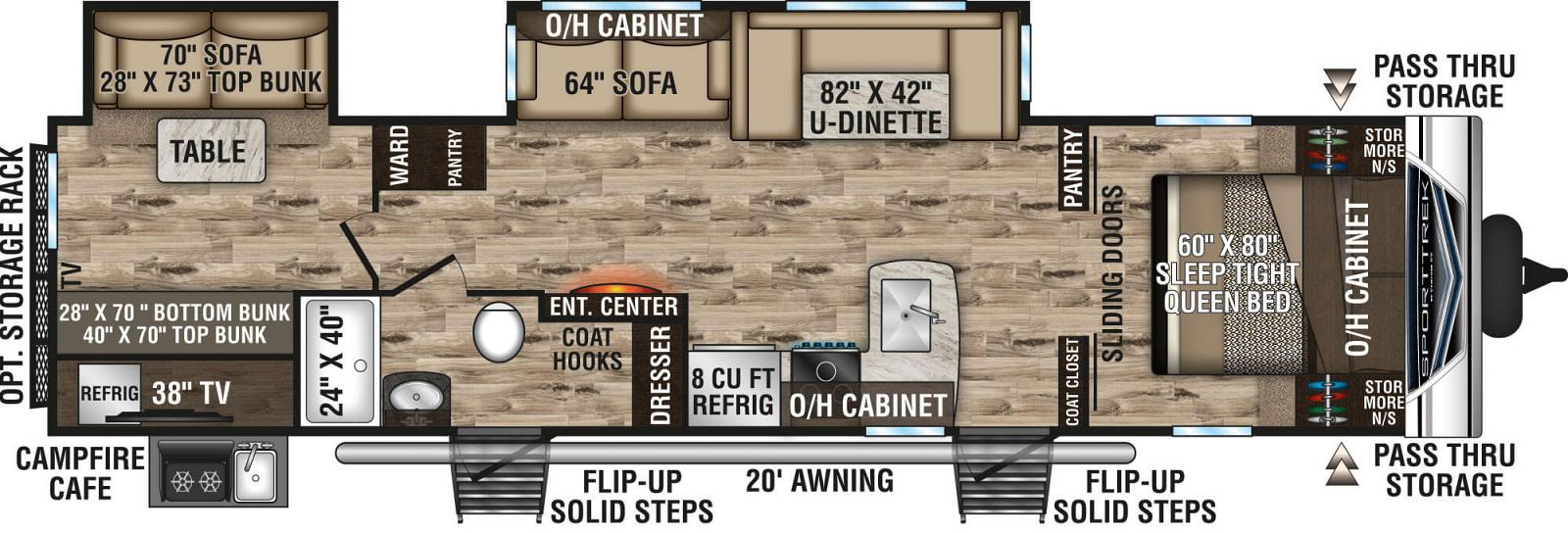 2020 VENTURE SPORTTREK 332VBH (bunks) Floorplan