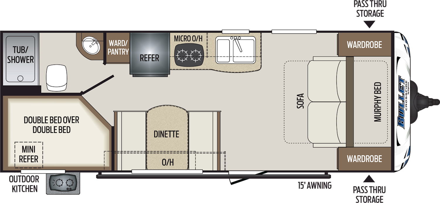 2020 KEYSTONE BULLET CROSSFIRE 2200BH (bunks) Floorplan