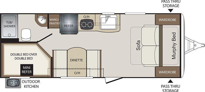 2018 KEYSTONE BULLET CROSSFIRE 2200BH (bunks) Floorplan