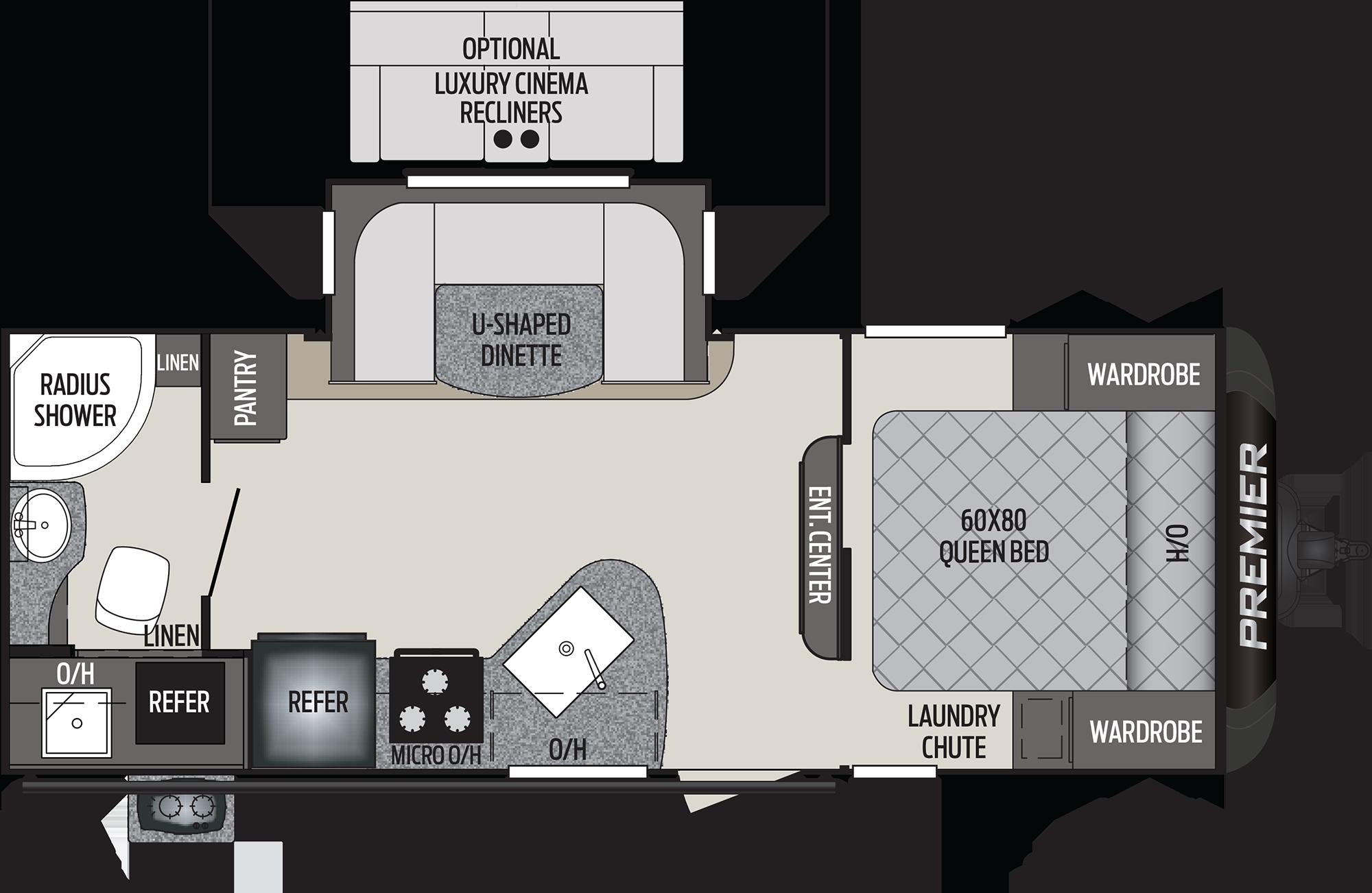 2020 KEYSTONE PREMIER 22RBPR (couples) Floorplan