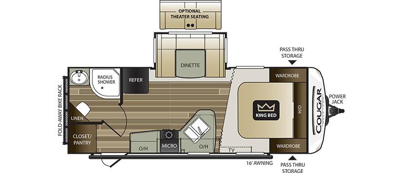 2018 KEYSTONE RV COUGAR 22RBS Floorplan