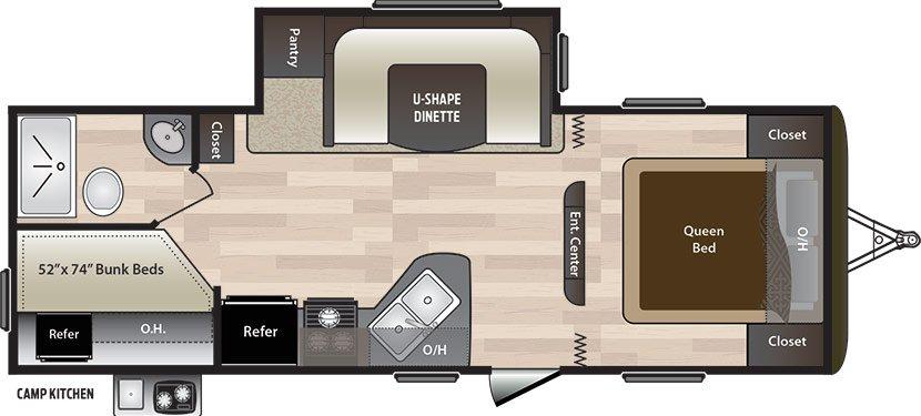 2018 KEYSTONE HIDEOUT LHS 242LHS (bunks) Floorplan