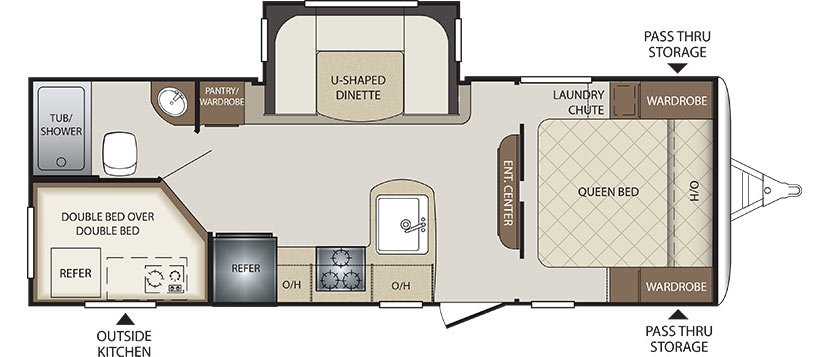 2019 KEYSTONE BULLET 243BHS (bunks) Floorplan