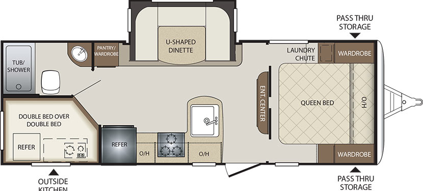 2019 KEYSTONE BULLET 243BHS (bunks) Floorplan