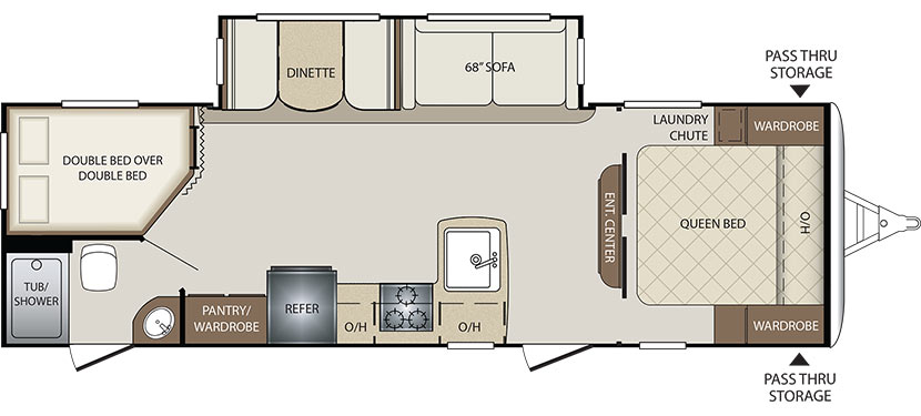 2018 KEYSTONE BULLET 272BHS (bunks) Floorplan