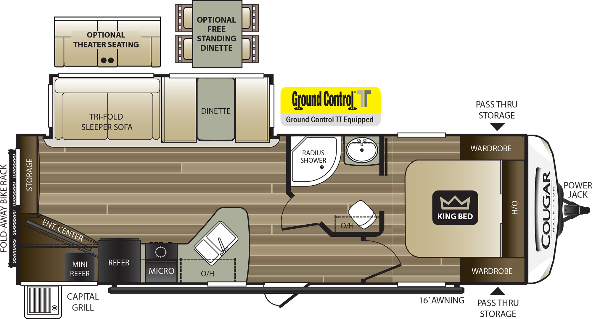 2018 KEYSTONE COUGAR HALF-TON 27RES (couples) Floorplan