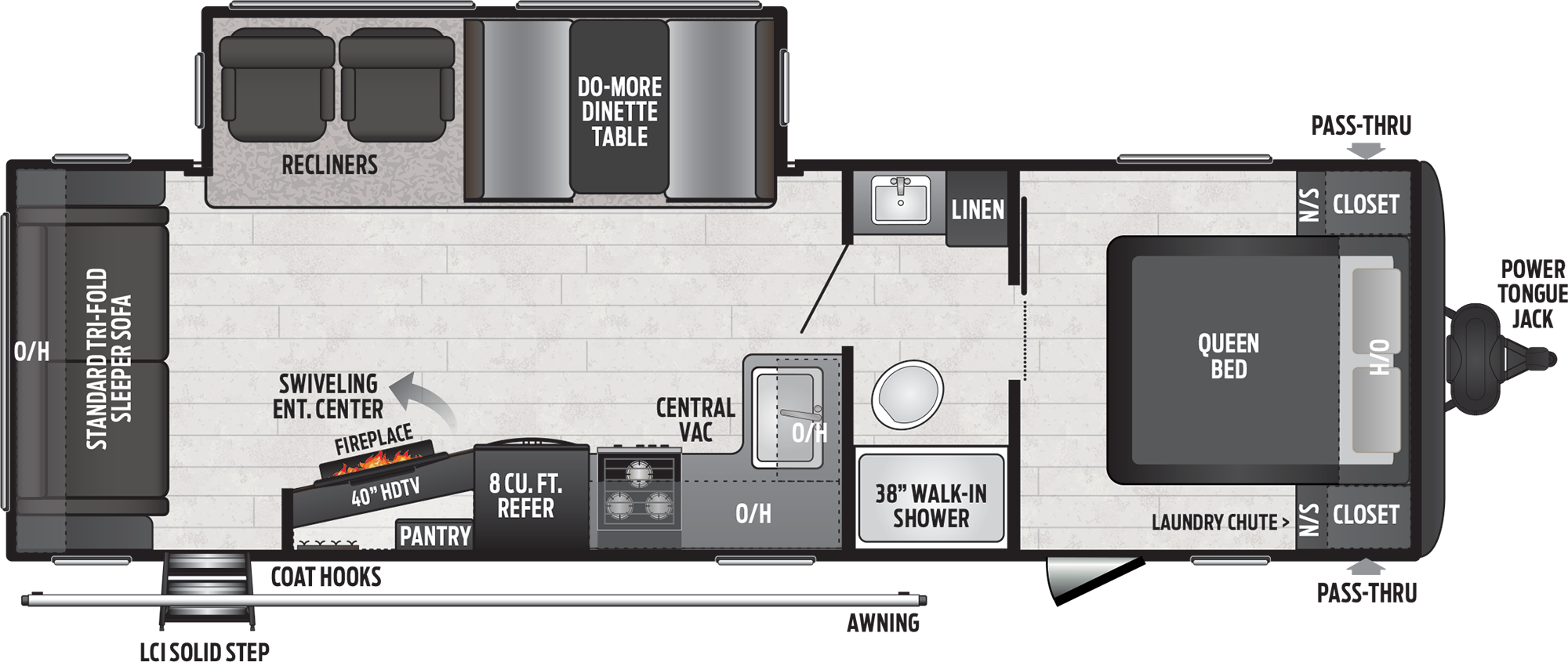 2020 KENT HIDEOUT 27RLS (couples) Floorplan