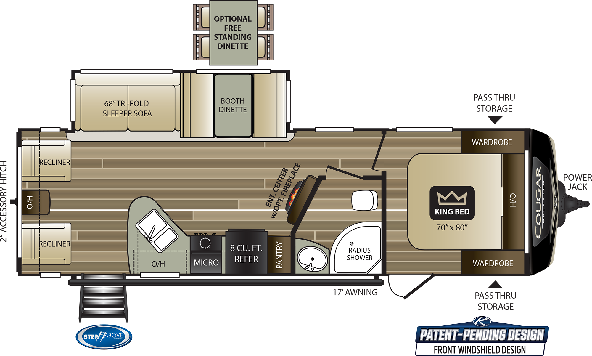2020 KEYSTONE COUGAR HALF-TON 27SAB (couples) Floorplan