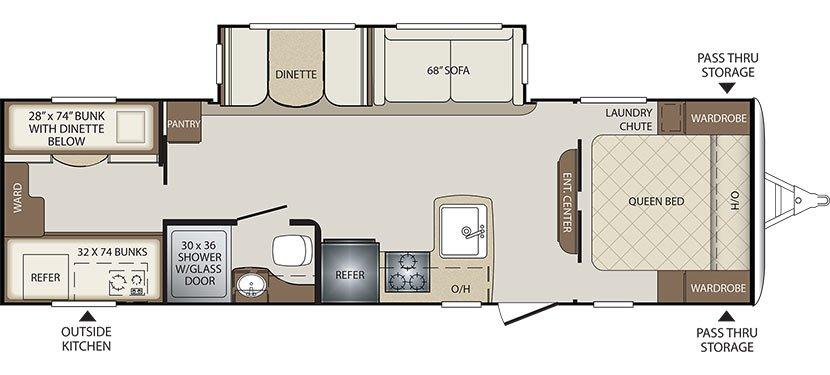 2019 KEYSTONE BULLET 287QBS (bunks) Floorplan