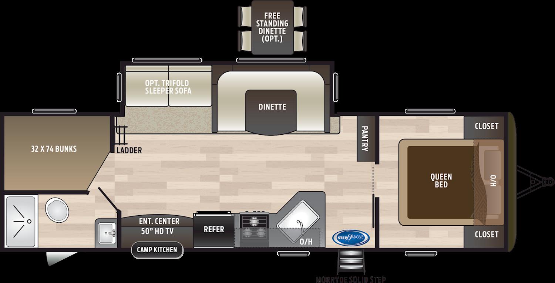 2020 KEYSTONE HIDEOUT 28BHS (bunks) Floorplan