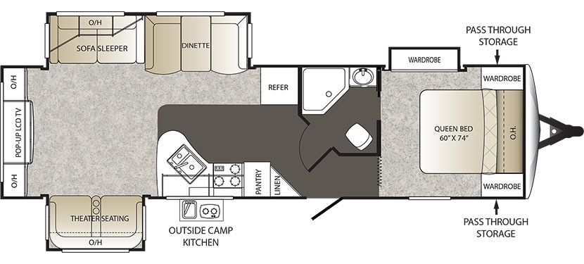 2016 KEYSTONE OUTBACK 298RE (couples) DEMO Floorplan