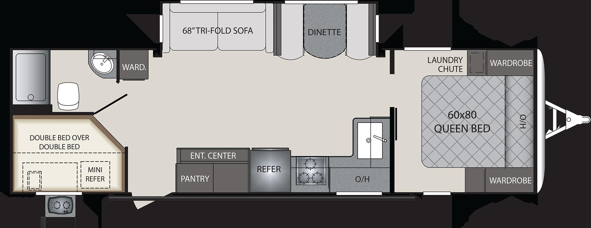 2019 KEYSTONE PREMIER 29BHPR (bunks) Floorplan