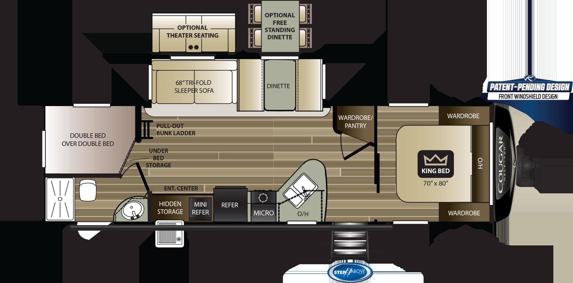 2020 KEYSTONE COUGAR HALF-TON 29BHS (bunks) Floorplan