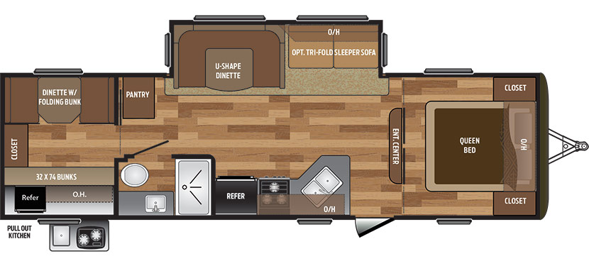 2019 KEYSTONE HIDEOUT 29BKS (bunks) Floorplan