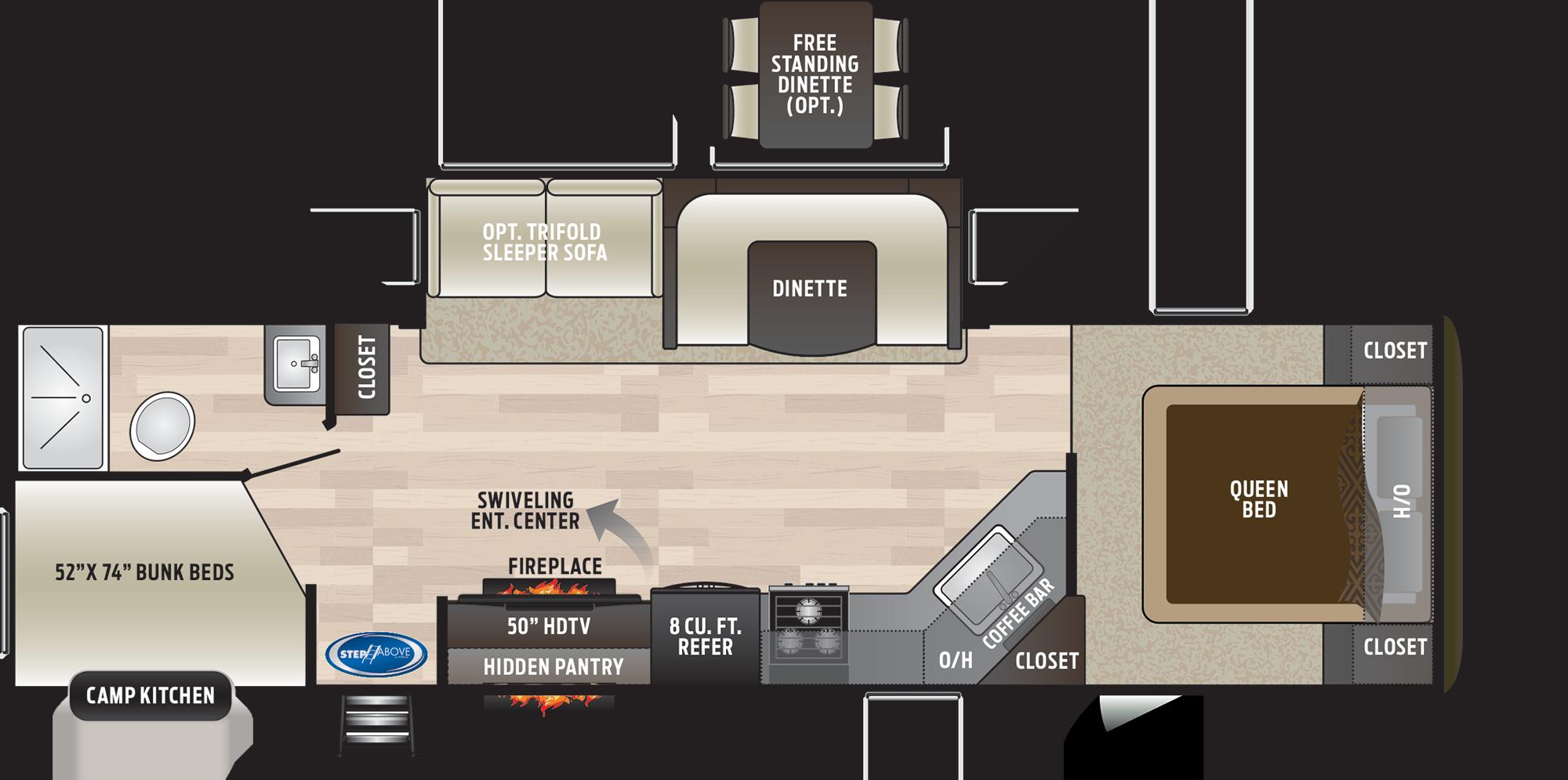 2019 KEYSTONE HIDEOUT 29DFS (bunks) Floorplan