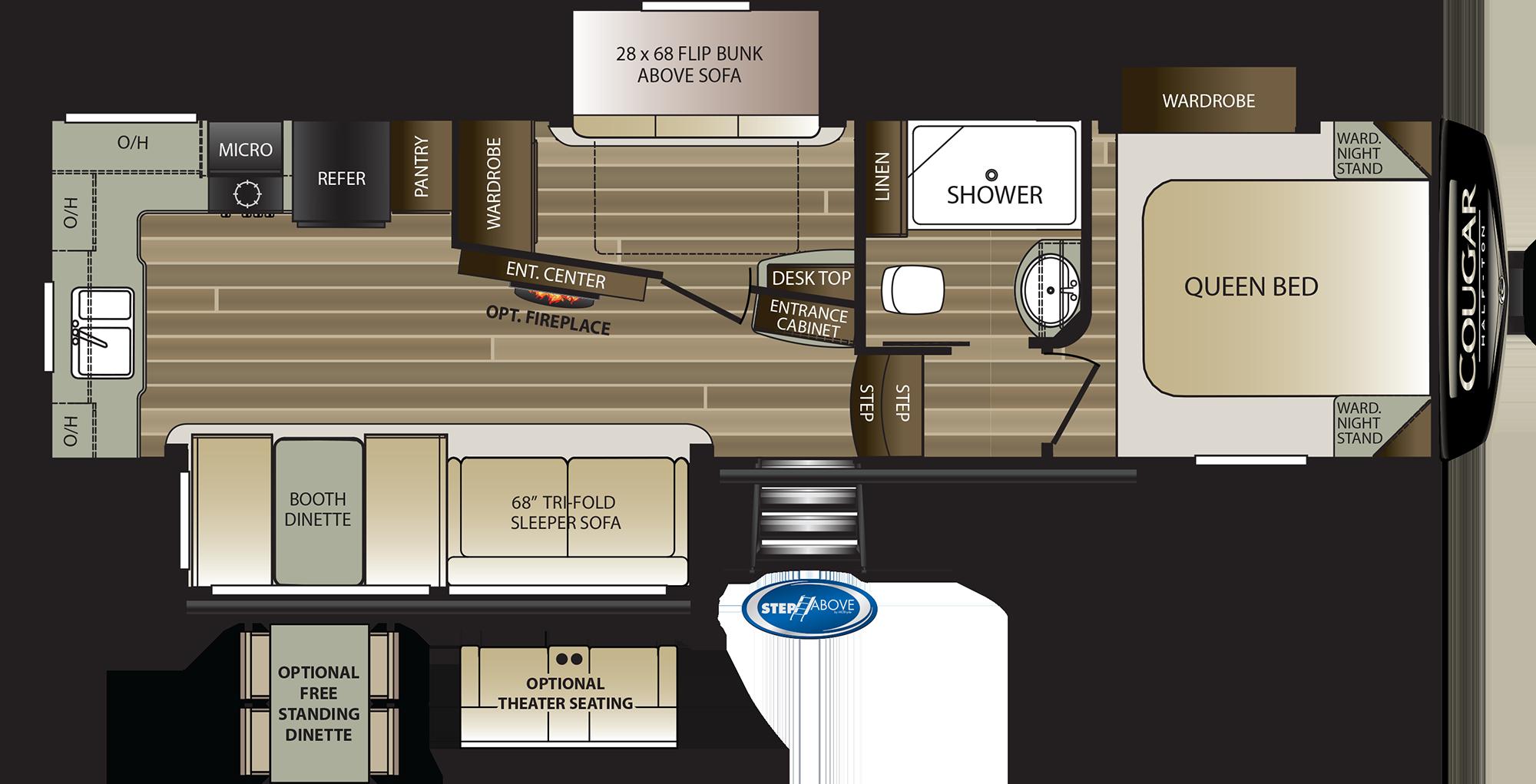 2020 KEYSTONE COUGAR HALF-TON 29MBS (bunks) Floorplan