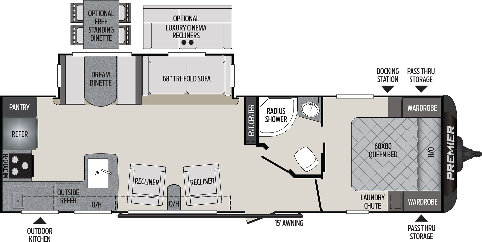 2020 KEYSTONE PREMIER 29RKPR (couples) Floorplan