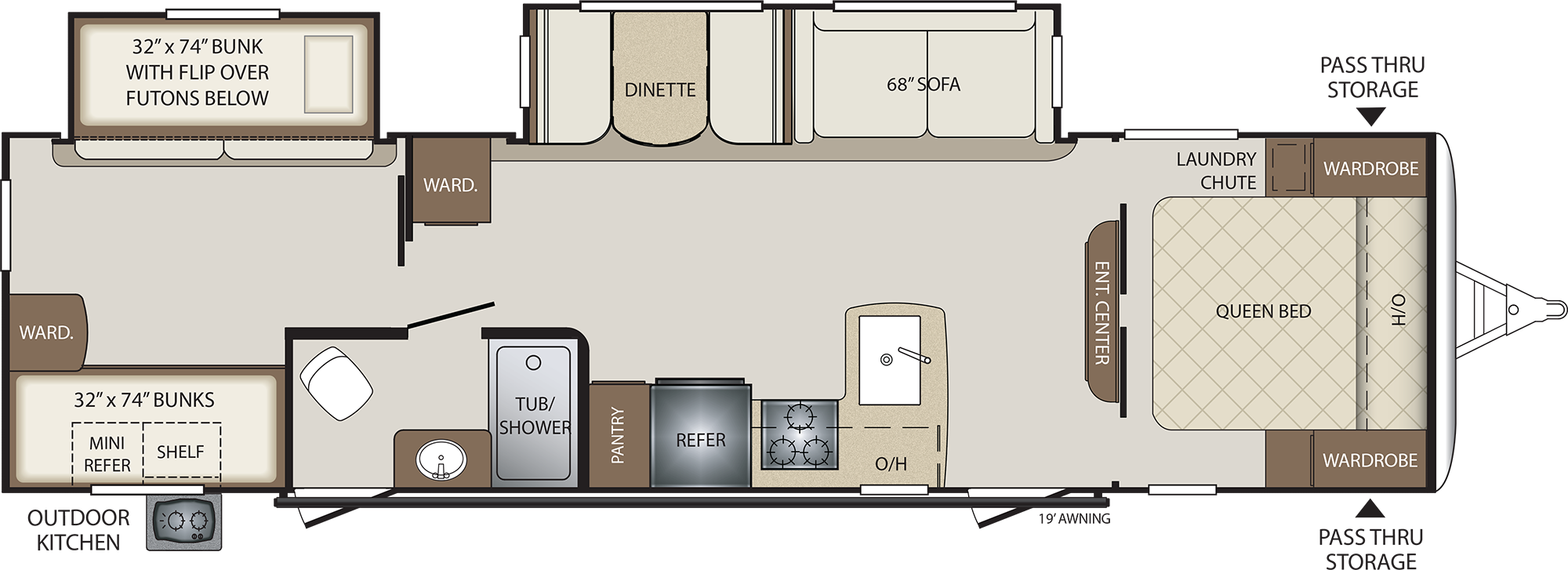 2019 KEYSTONE BULLET 308BHS (bunks) Floorplan