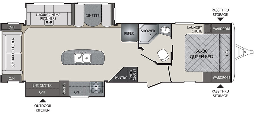 2019 KEYSTONE PREMIER 30RIPR (couples) Floorplan