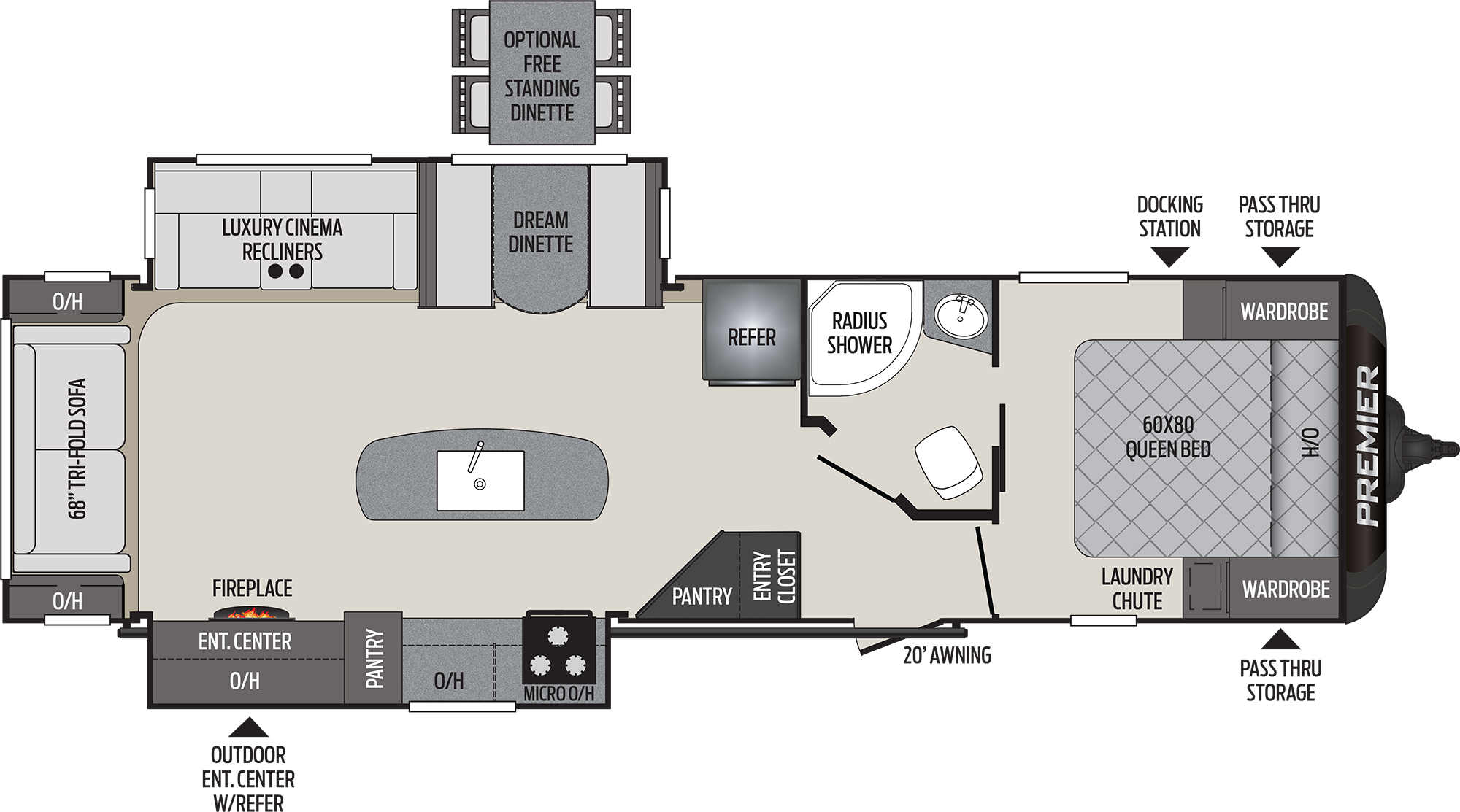 2020 KEYSTONE PREMIER 30RIPR (couples) Floorplan