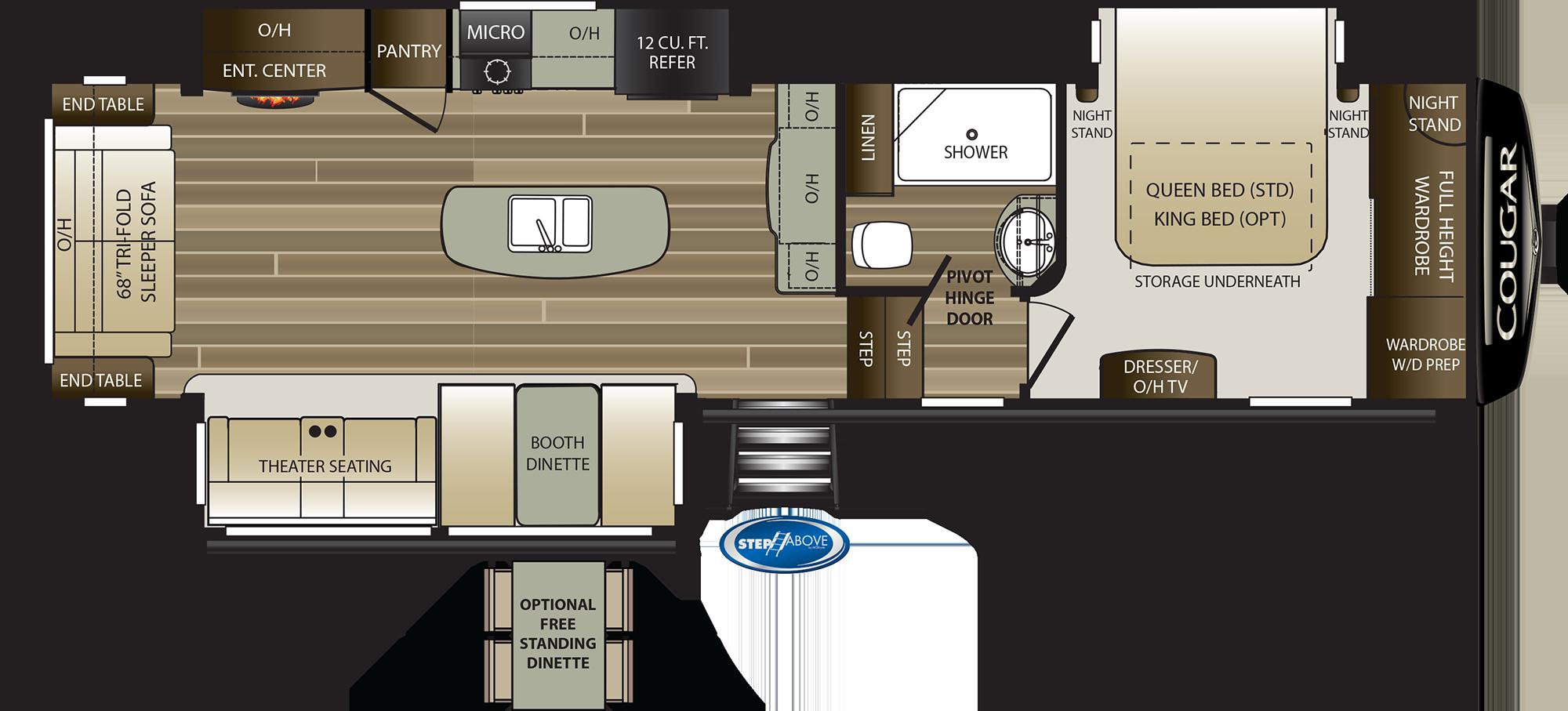 2020 KEYSTONE COUGAR 315RLS (couples) Floorplan