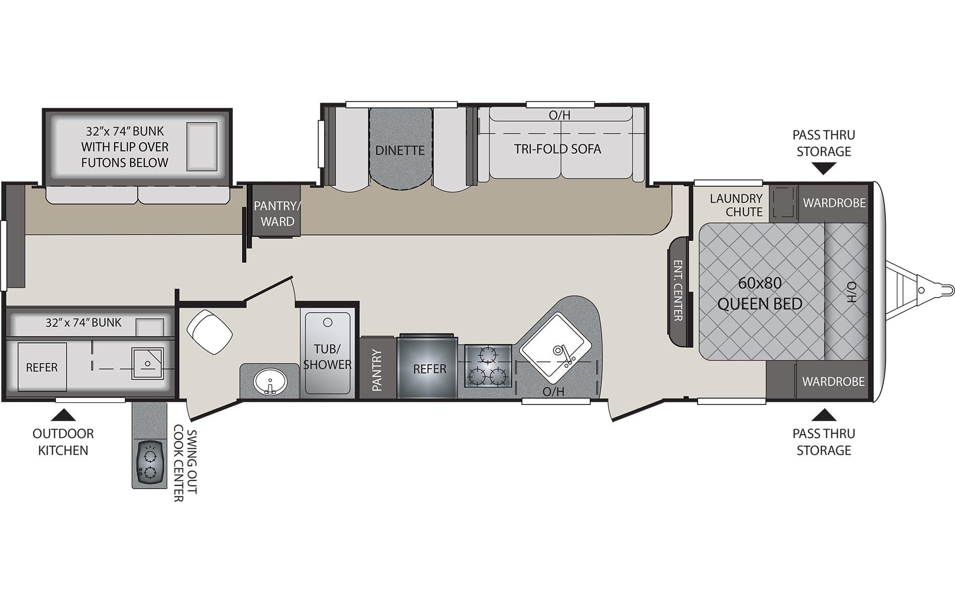 2016 KEYSTONE RV PREMIER 31BHPR (bunks) Floorplan