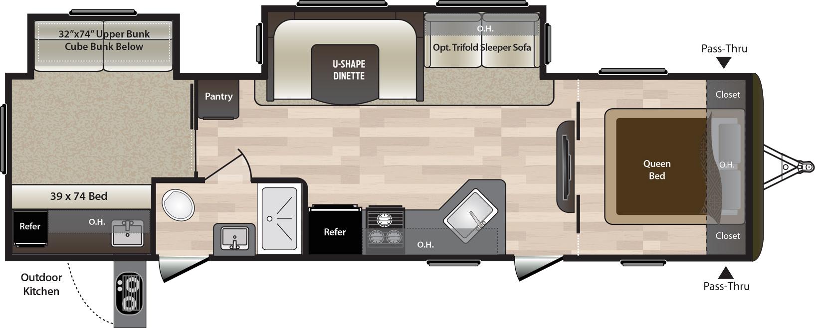 2019 KEYSTONE HIDEOUT 31RBDS (bunks) Floorplan