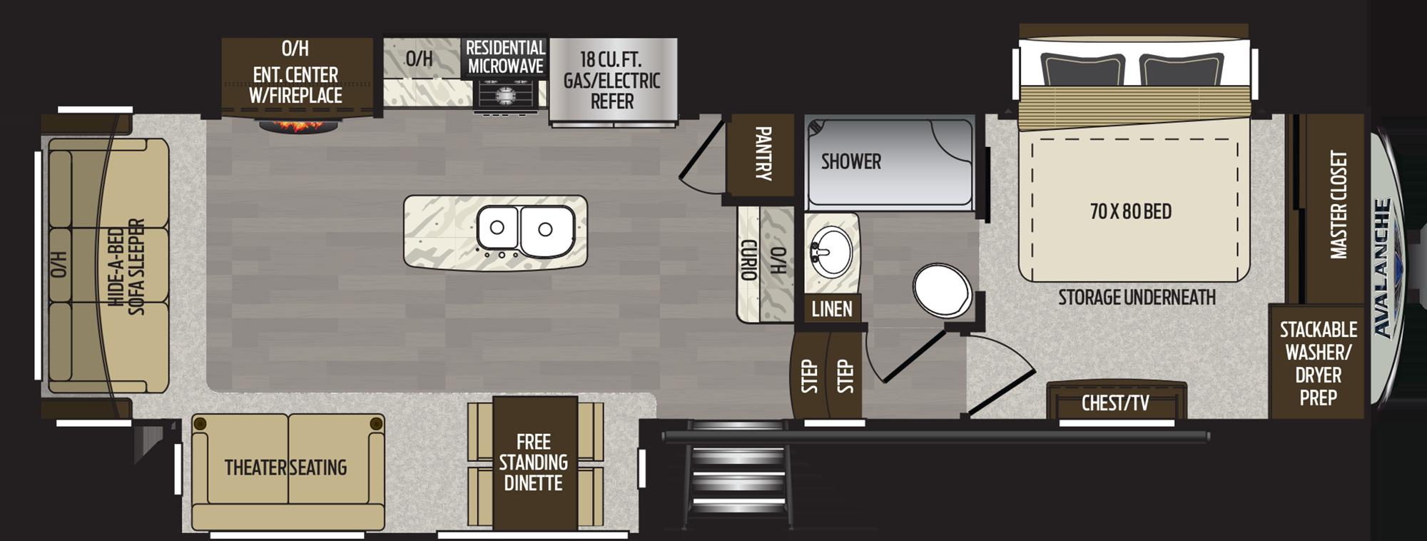 2019 KEYSTONE AVALANCHE 320RS (couples) Floorplan