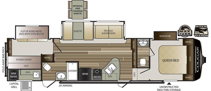 2019 KEYSTONE COUGAR HALF-TON 32BHS (bunks) Floorplan