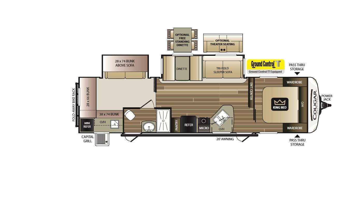 2018 KEYSTONE COUGAR HALF-TON 32RDB (bunks) Floorplan
