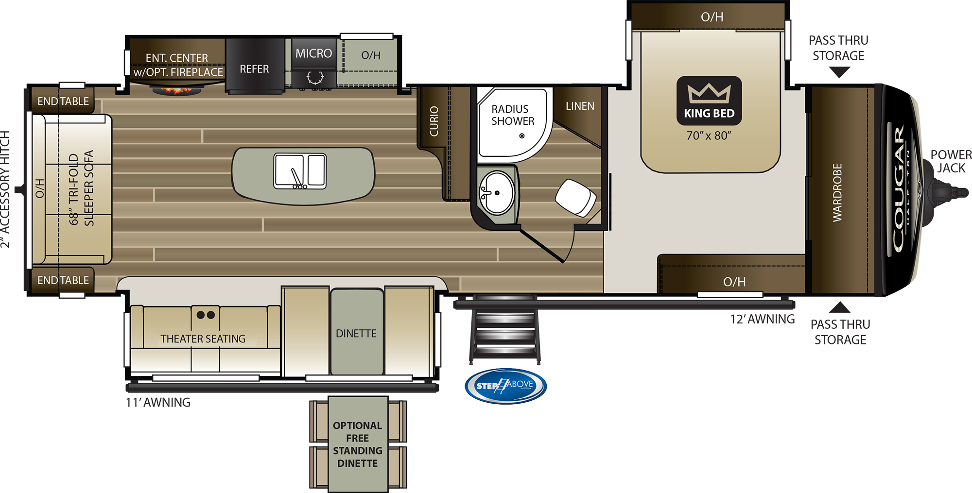 2020 KEYSTONE COUGAR HALF-TON 32RLI (couples) Floorplan