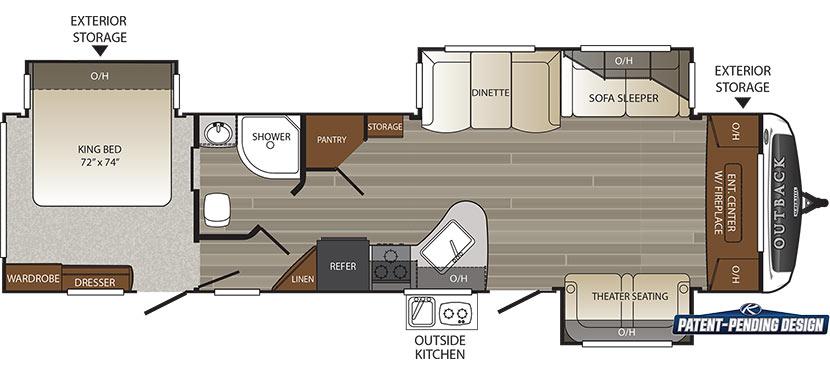 2017 KEYSTONE OUTBACK 333FE (couples) - Floorplan