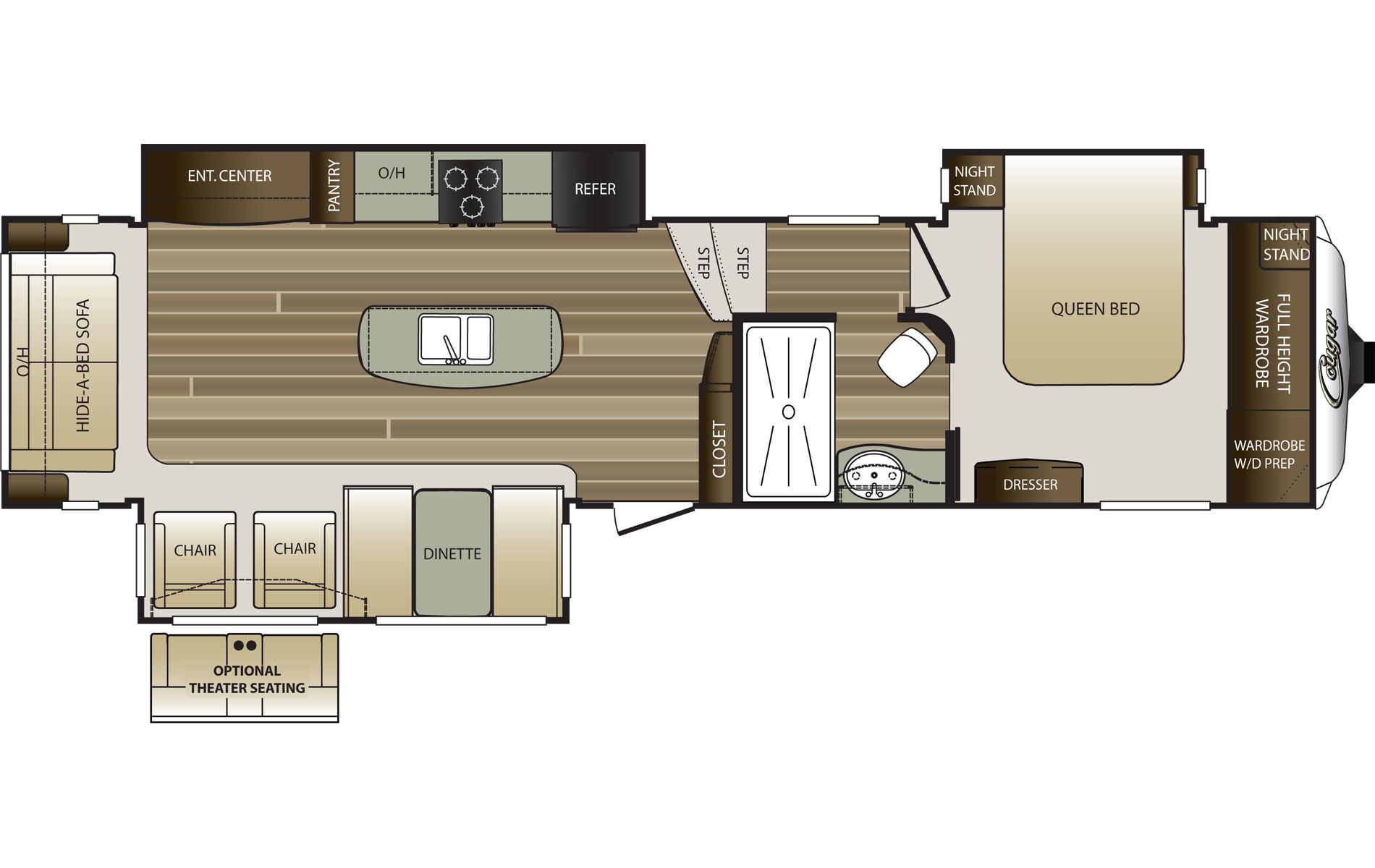 2015 KEYSTONE COUGAR 333MKS (couple) Floorplan