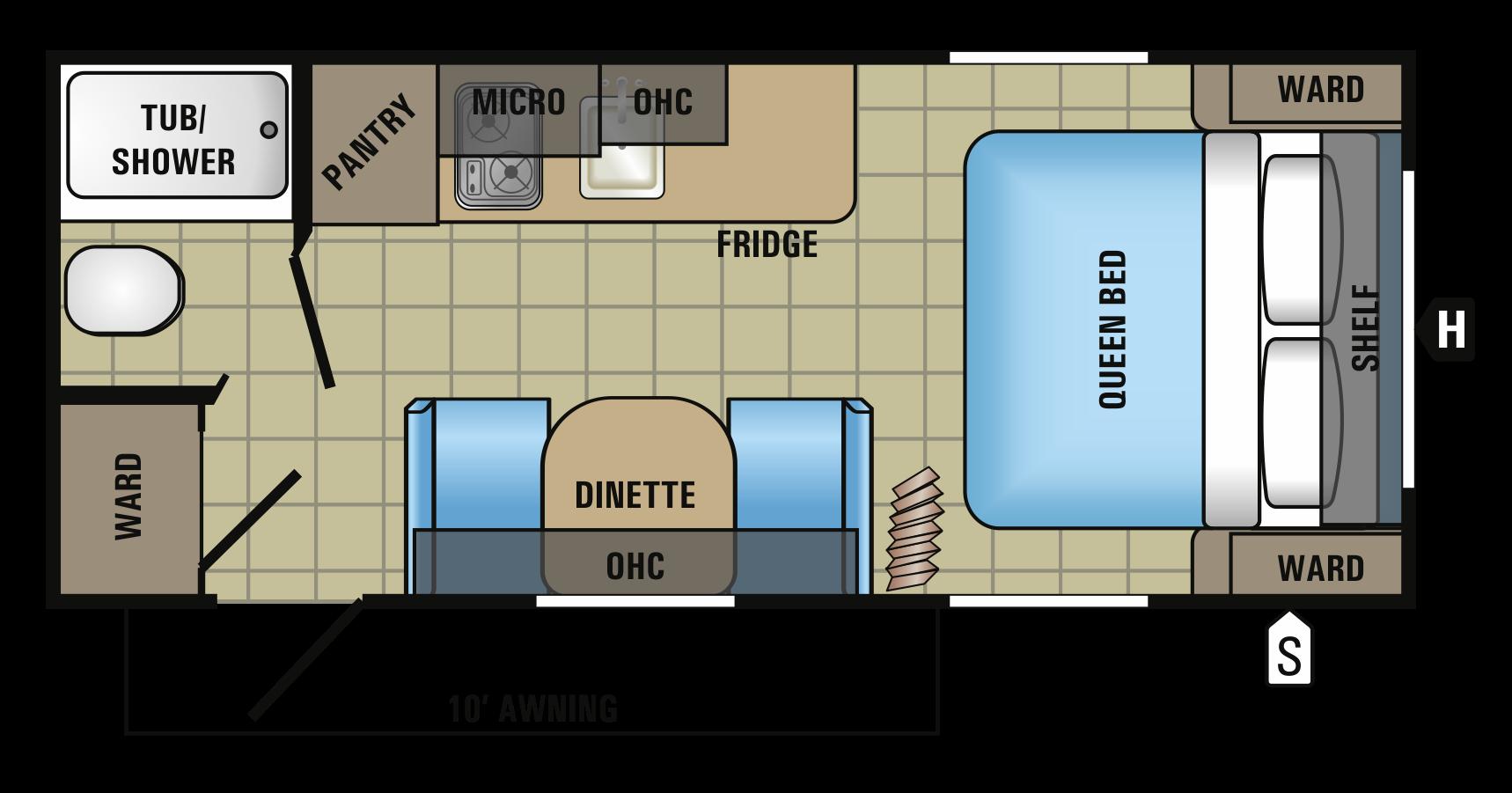 2017 JAYCO JAYFLIGHT SLX 195RB (couples) Floorplan