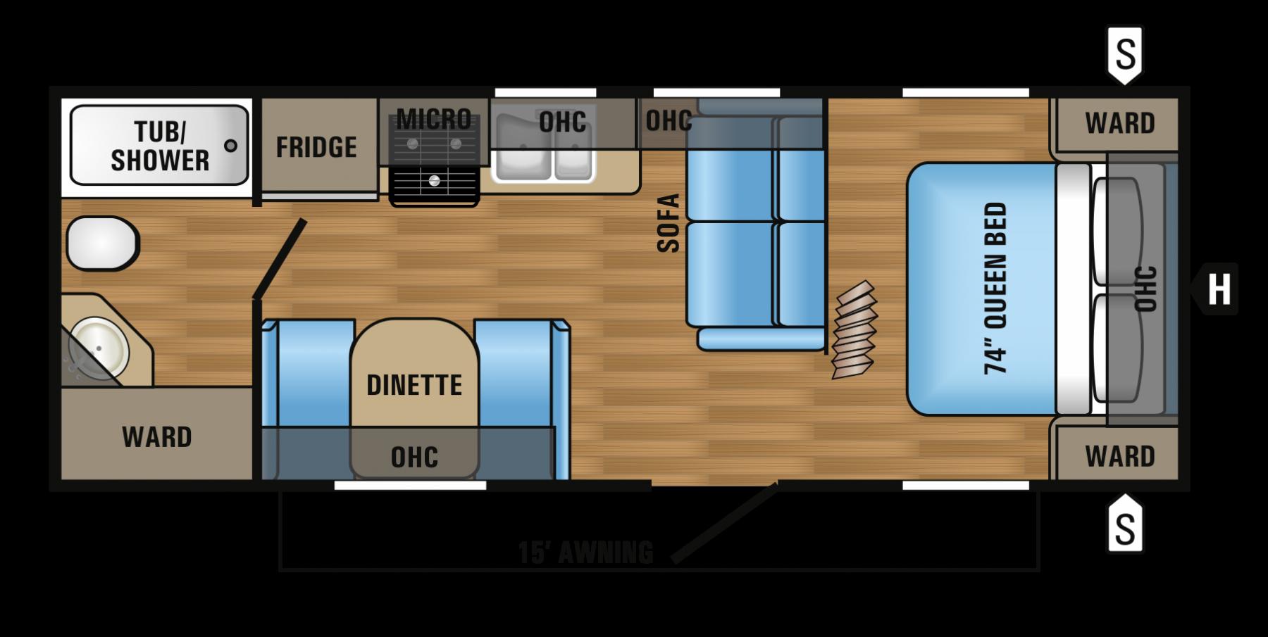 2017 JAYCO JAYFLIGHT 23FB (couples) Floorplan
