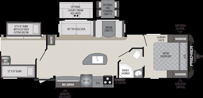 2020 KEYSTONE PREMIER 34BIPR (bunks) Floorplan