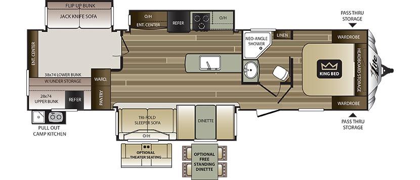 2019 KEYSTONE COUGAR HALF-TON 34TSB (bunks) Floorplan
