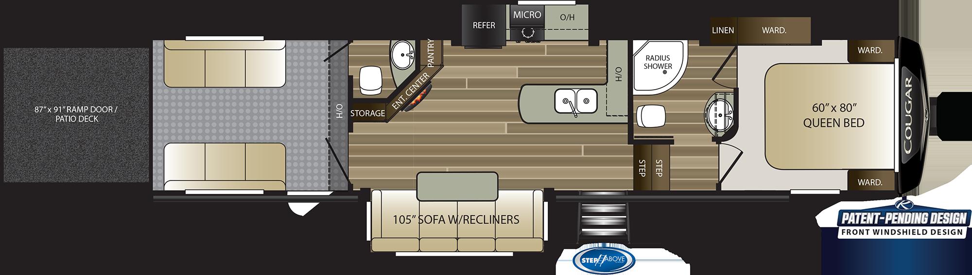 2020 KEYSTONE COUGAR 353SRX (bunks) Floorplan