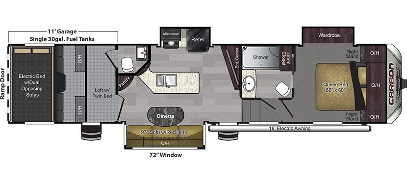 2018 KEYSTONE CARBON 357 (bunks) Floorplan