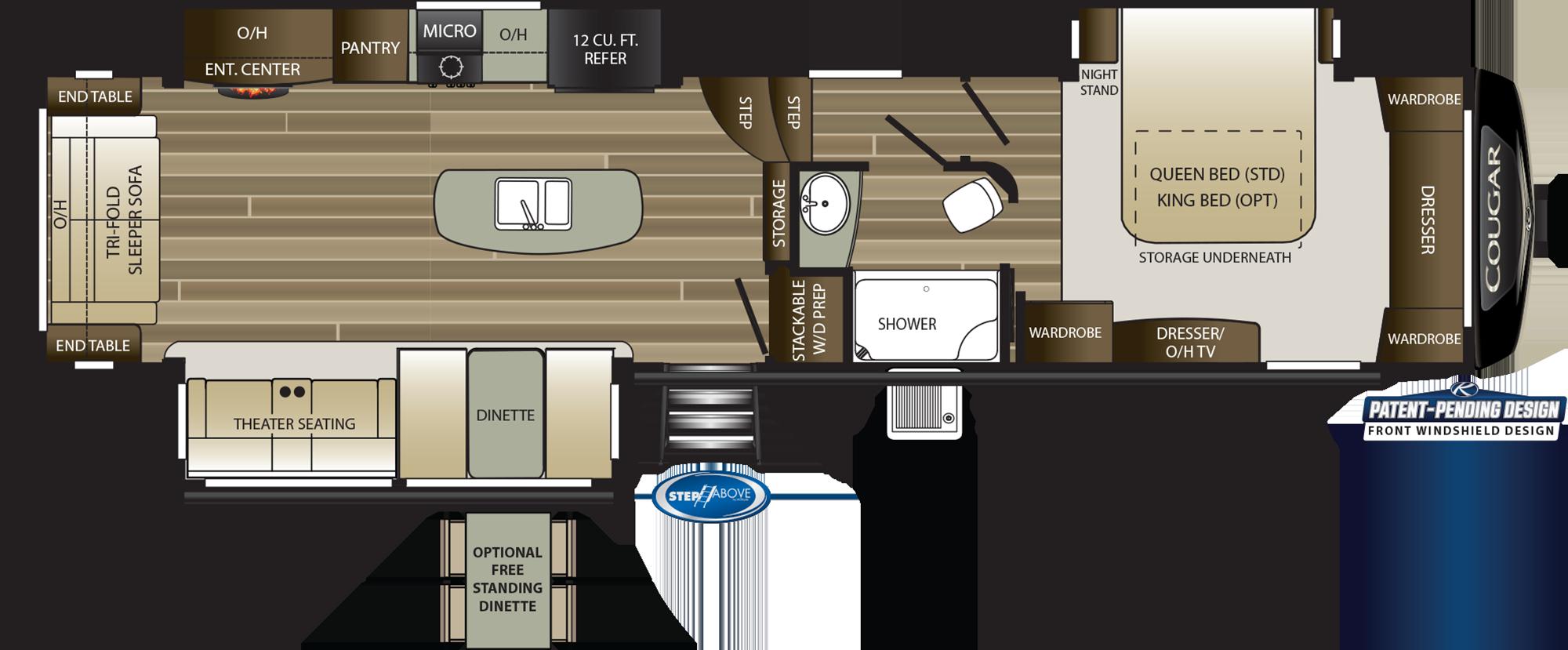 2019 KEYSTONE COUGAR 361RLS (couples) Floorplan