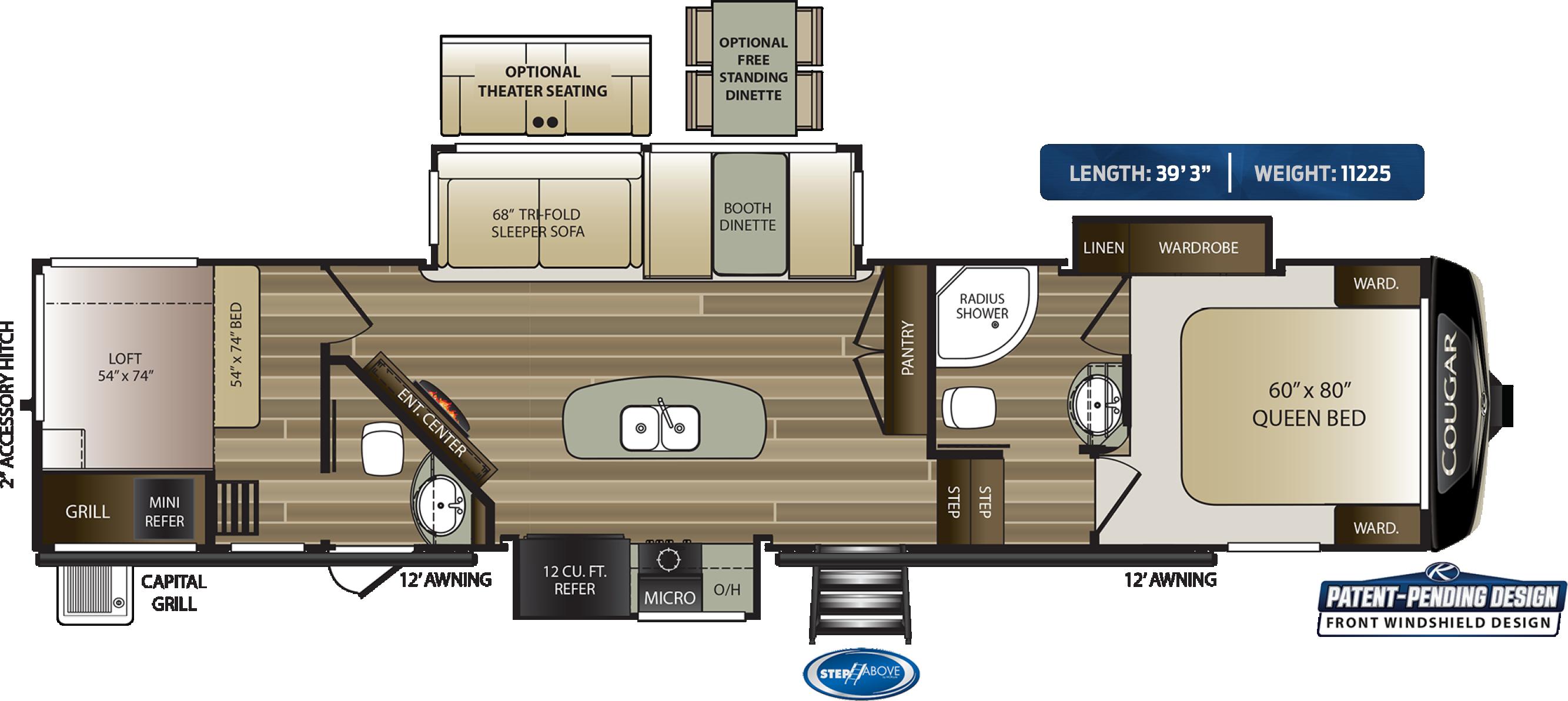 2020 KEYSTONE COUGAR 364BHL (bunks) Floorplan