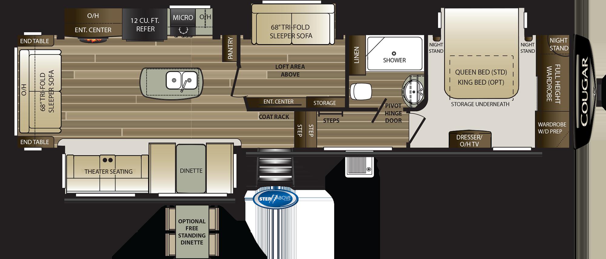 2019 KEYSTONE COUGAR 368MBI (bunks) Floorplan